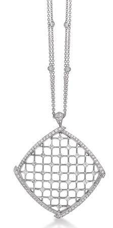 Geometric lines create a lacy pattern in gold and diamonds by Luca Carati.