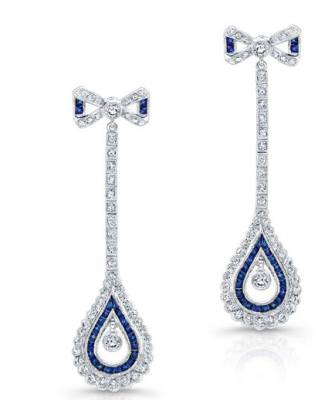 Diamond and sapphire earrings by Beverley K.