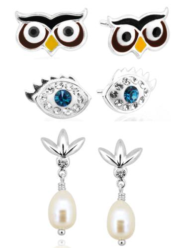 A variety of earring styles in 925 sterling silver, from classic to whimsical, by Topaz B.K.K. Co.