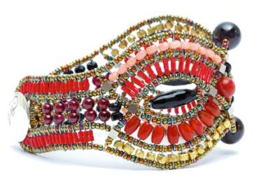 Multi-coloured gemstone, bead, and silver cuff by Ziio.