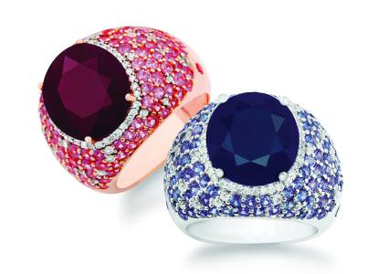 Sapphire, diamond, and ruby rings by Pranda