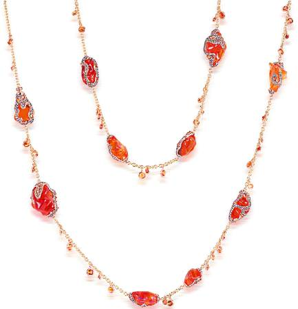 The trendy colour of bright orange was seen in this opal, diamond, and gold necklace by Italian Design.