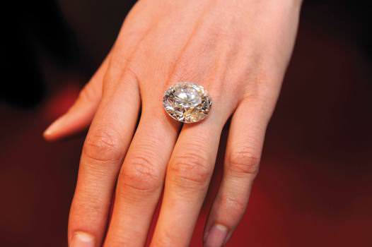 One of the larger diamonds seen in Antwerp, as it might look in a ring on the hand.