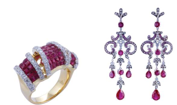 Ruby and diamond ring by Gem Production & Ruby and diamond earrings by Princess Gems.